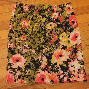 J.Jill women's stretch pencil floral print skirt